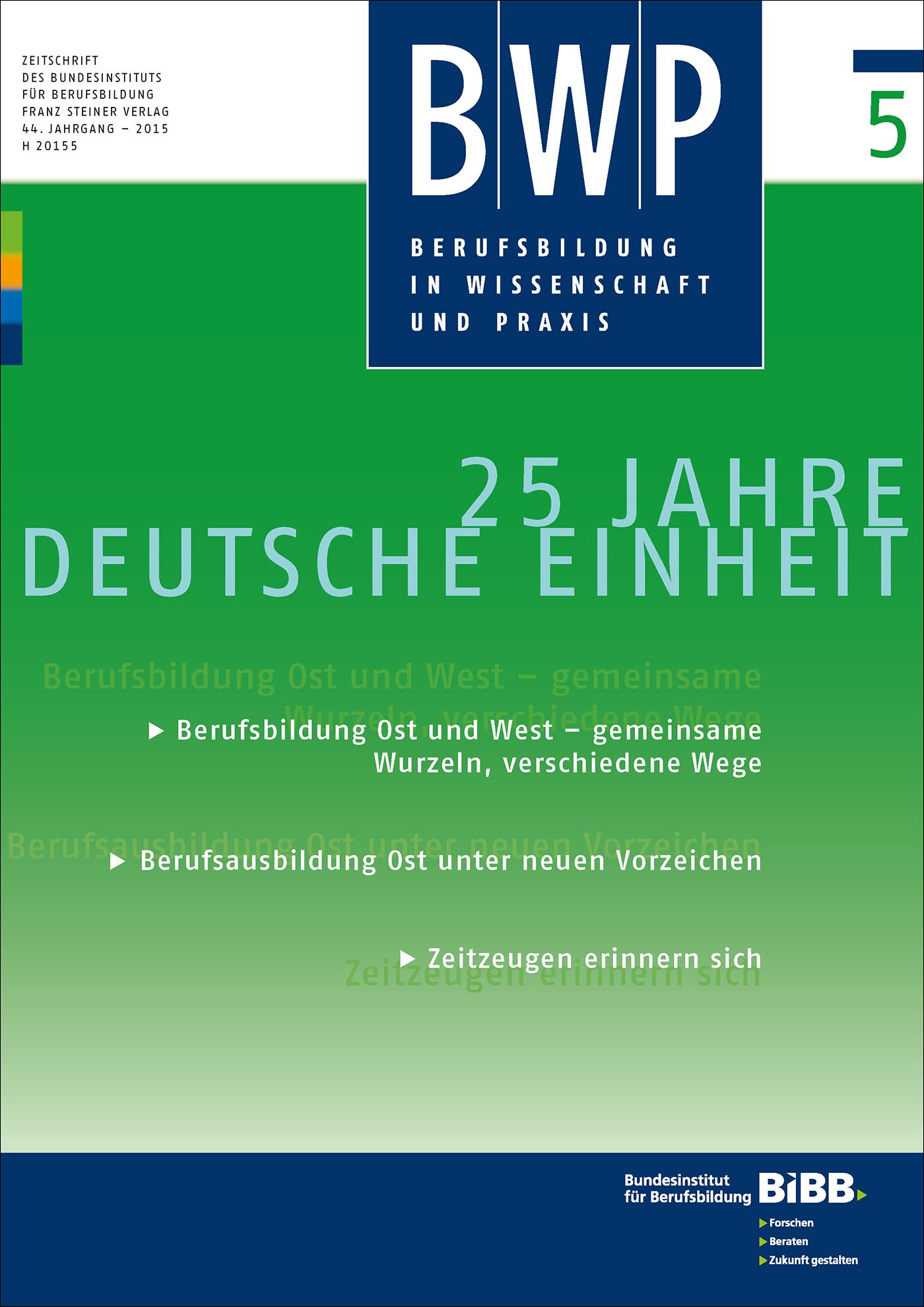 Cover der Zeitschrift BWP Heft 2015/5