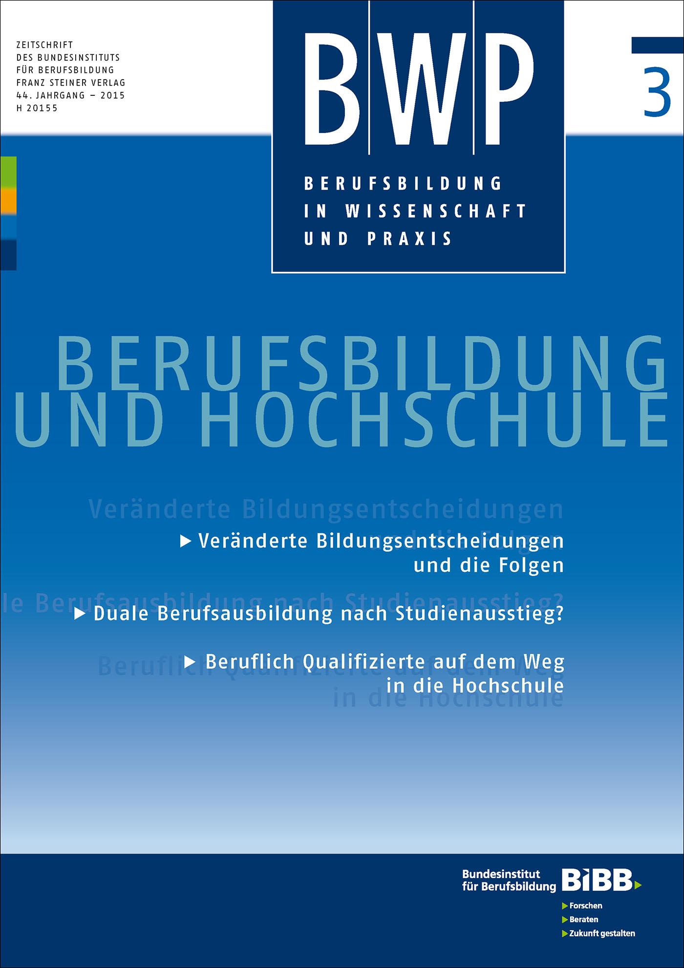 Cover der Zeitschrift BWP Heft 2015/3
