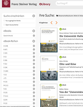 Screenshot der Franz Steiner Verlag-eLibrary
