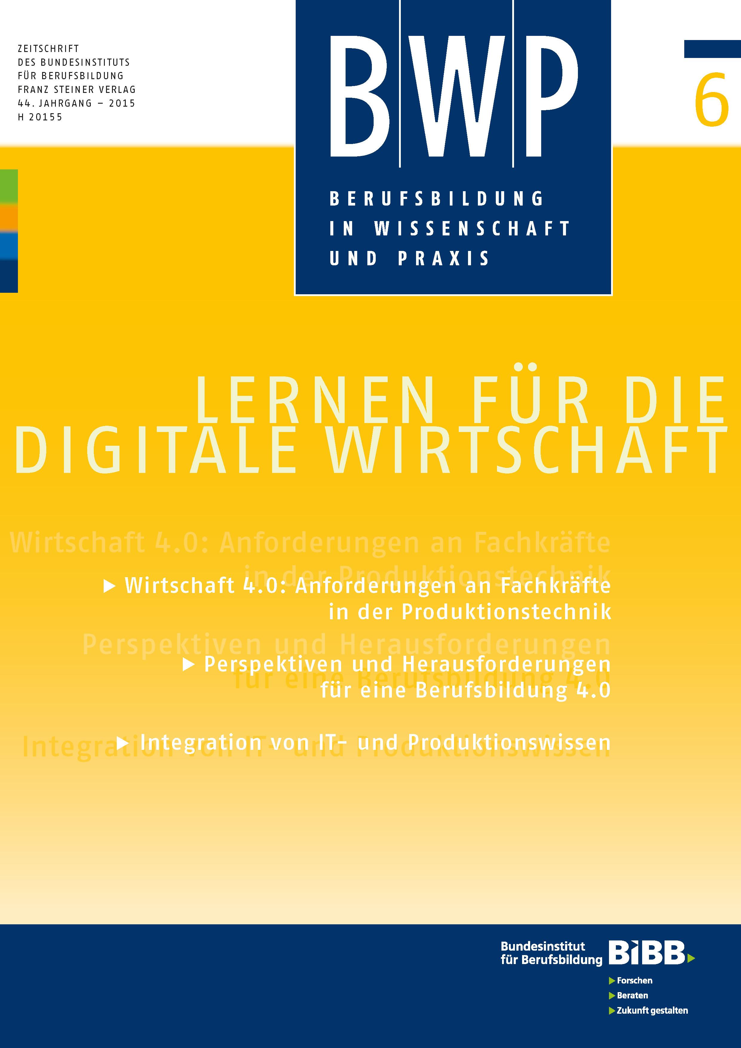 Cover der Zeitschrift BWP Heft 2015/6