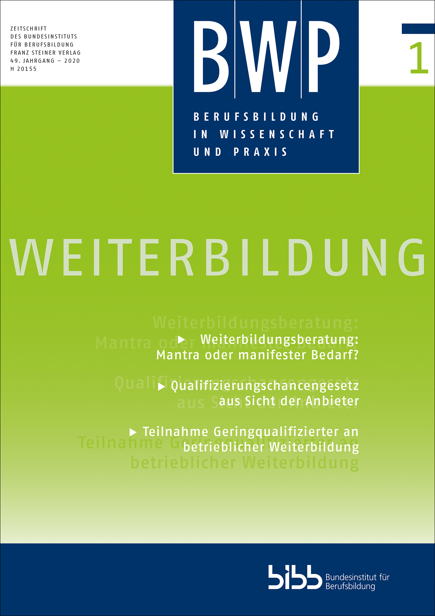 Cover der Zeitschrift BWP Heft 2020/1