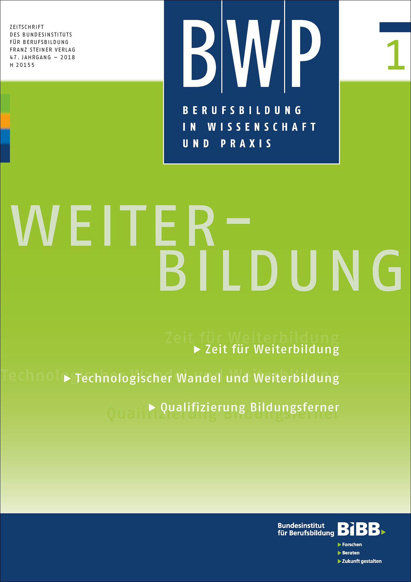 Cover der Zeitschrift BWP Heft 2018/1