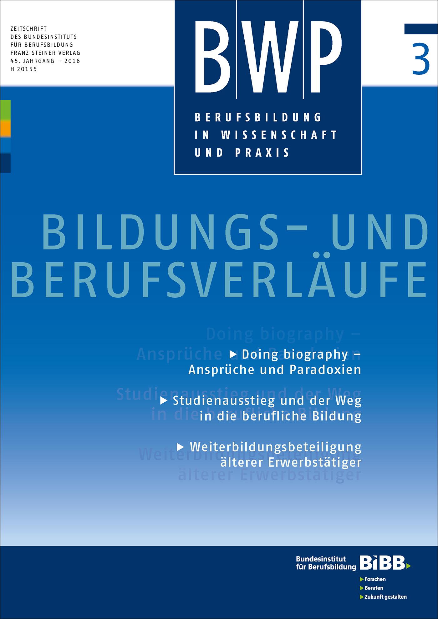 Cover der Zeitschrift BWP Heft 2016/3