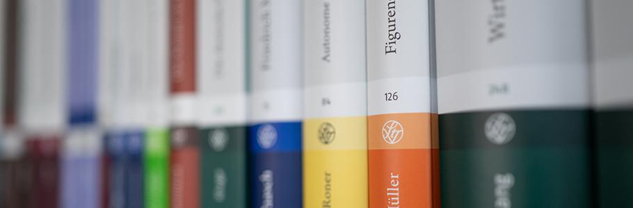 Bücherregal mit Steiner-Büchern in Schrägansicht