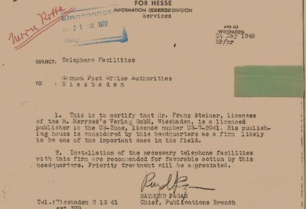 Ausschnitt des Gründungstelegramms, das Franz Steiner die Gründung eines Verlags in der amerikanischen Besatzungszone erlaubt