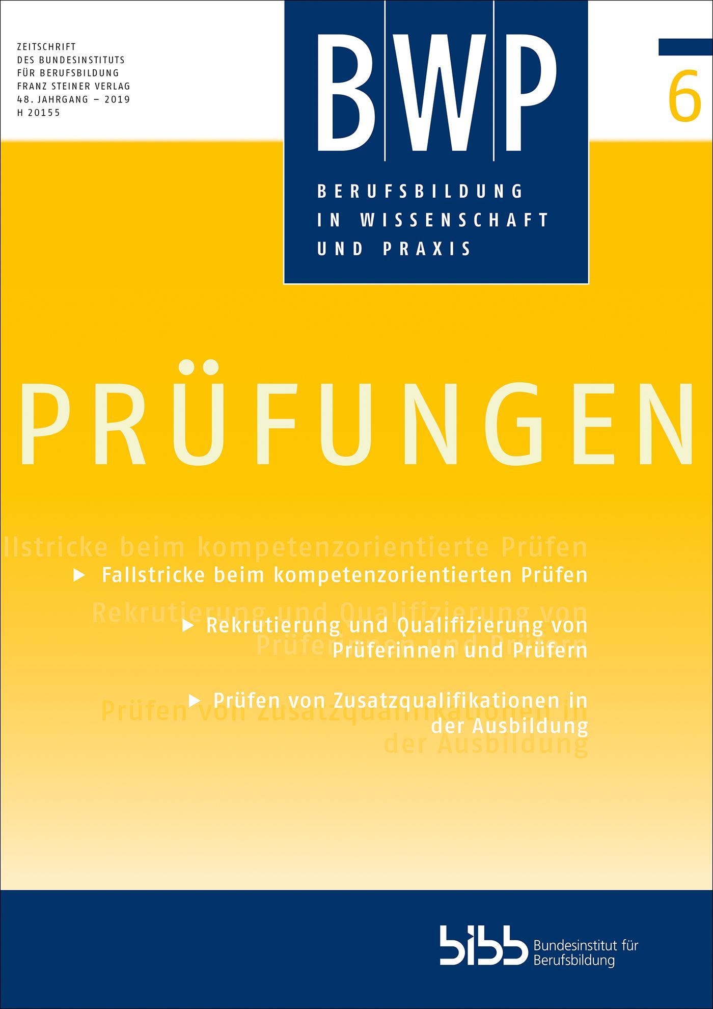 Cover der Zeitschrift BWP Heft 2019/6