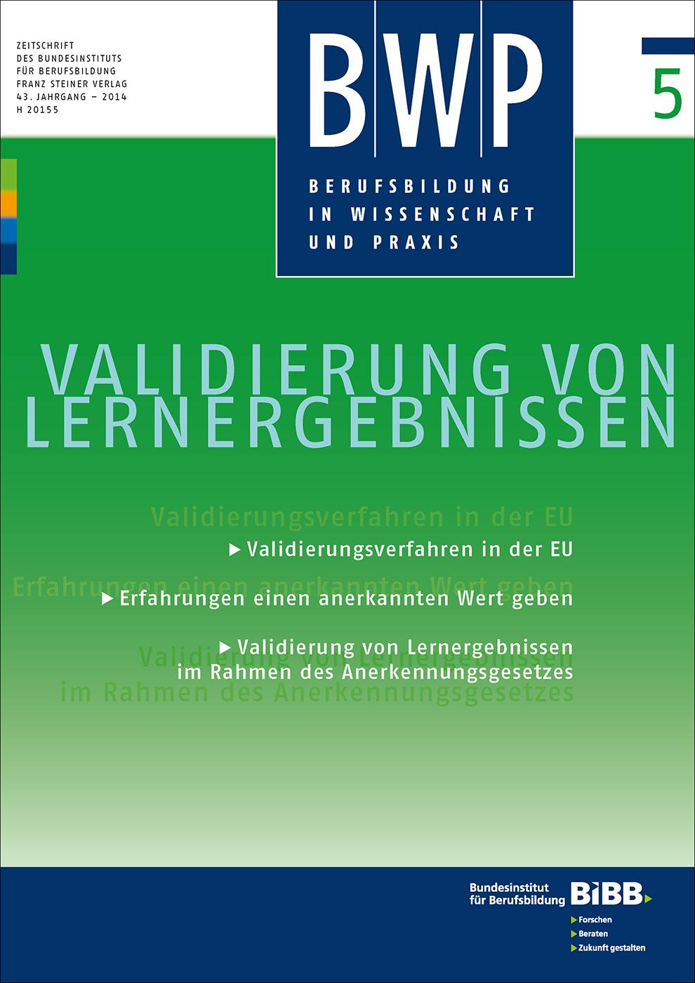Cover der Zeitschrift BWP Heft 2014/5