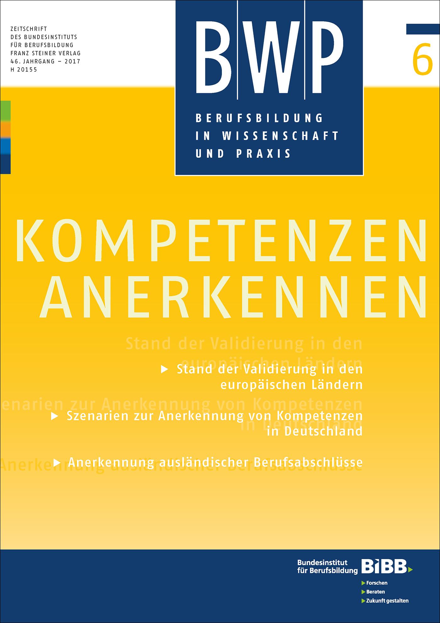 Cover der Zeitschrift BWP Heft 2017/6